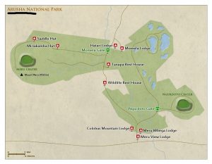 Arusha National Park Tanzania map