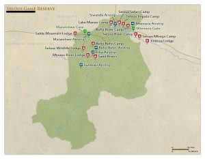 Selous game reserve map